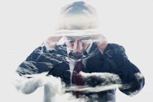 double exposure of depressed business man